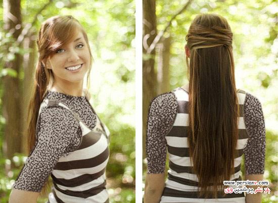 آموزش مدل موی ساده ای به صورت نیمه باز و نیمه جمع