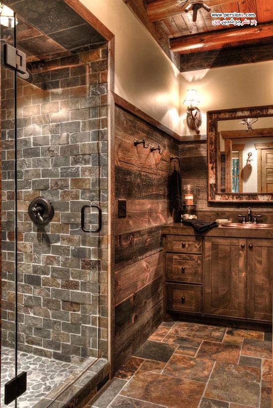 حمام و سرویس بهداشتی با طراحی به سبک زیبای روستیک