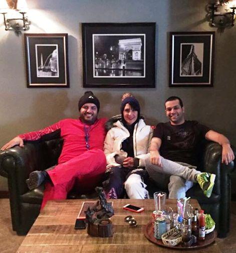 عکس سام درخشانی و همسرش با لباس اسکی !