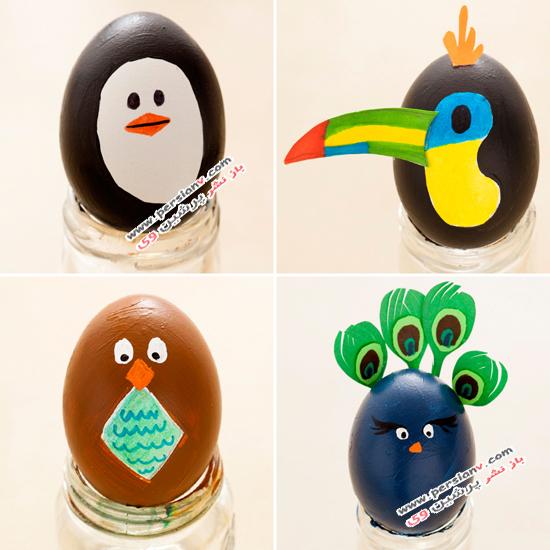 چسب پرنده نقاشی کودکانه روی تخم مرغ به شکل حیوانات بانمک +عکس