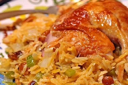 غذای شمالی؛ کشمش پلو با مرغ