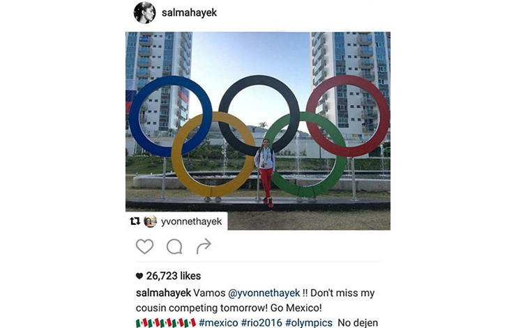 دخترعموی سلما هایک یکی از ورزشکاران حاضر در المپیک ریو بود