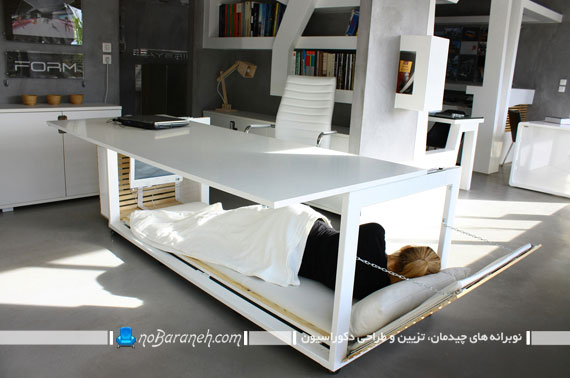 یک میز جالب اداری که تخت خواب شو نیز هست