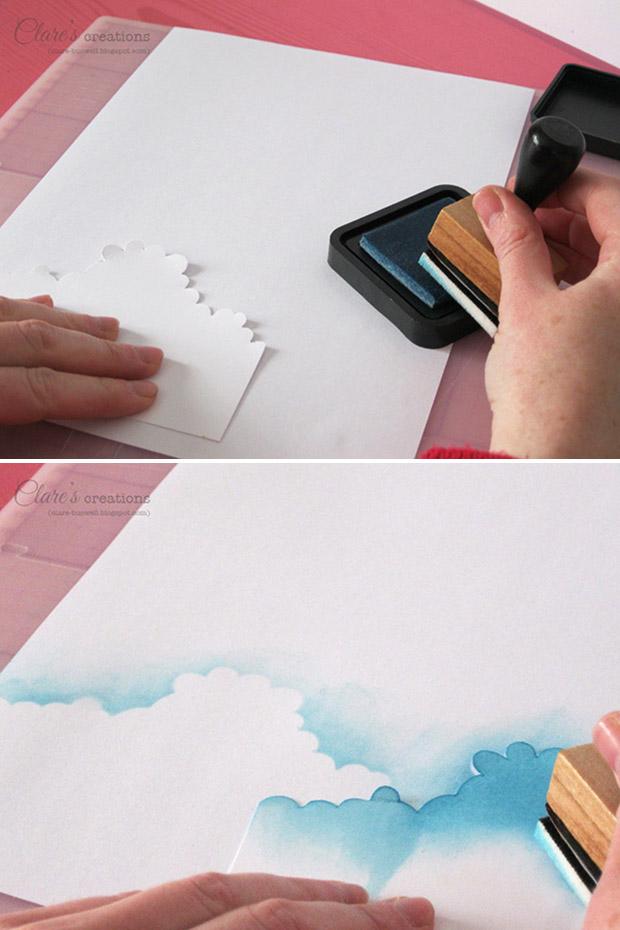 طرز کشیدن آسمان ابری با اسفنج و الگو  تصاویر