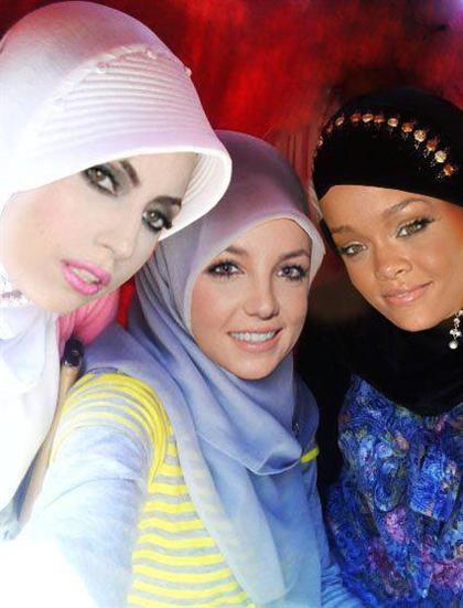 عکس: چهره ریحانا, بریتنی اسپیرز و لیدی گاگا با حجاب !