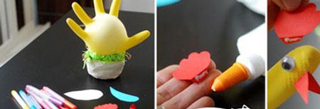 کاردستی عروسک مرغ با دستکش