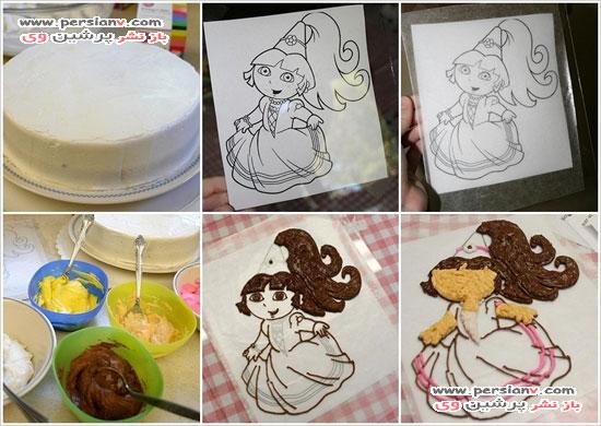 قراردادن شخصیت کارتونی روی کیک
