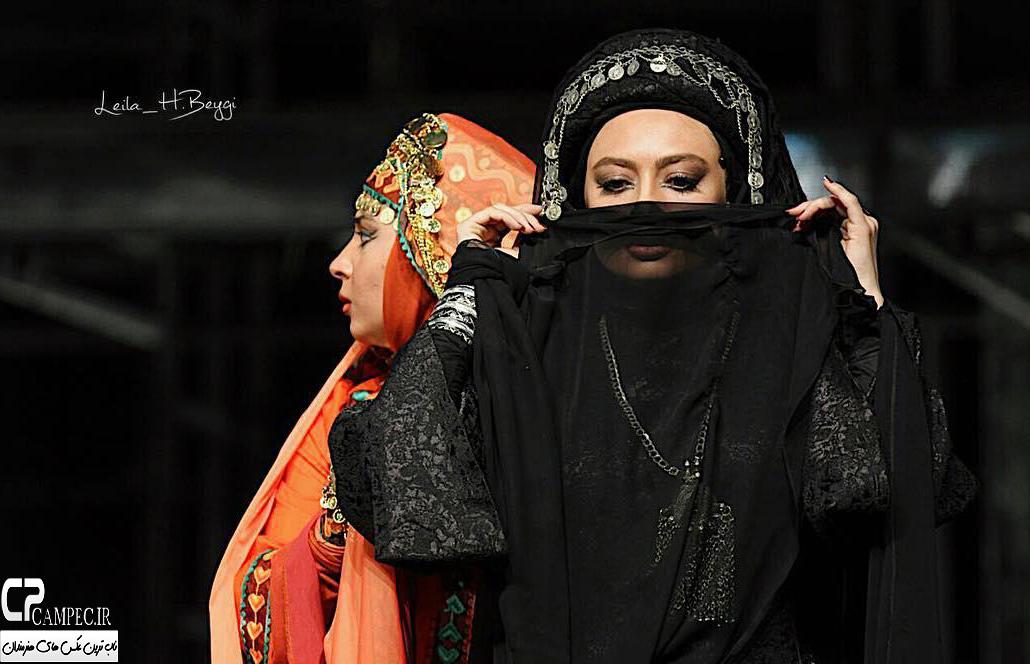 تیپ و آرایش جالب یکتا ناصر با پوشیه در یک نمایش