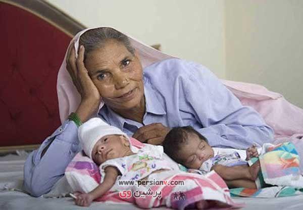 عکس دیدنی : زایمان عجیب این زن در 70 سالگی آن هم دو قلو