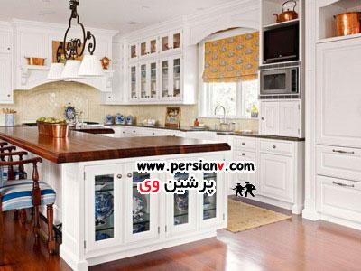 دکوراسیون آشپزخانه هایی که کابینت سفید رنگ دارند عکس