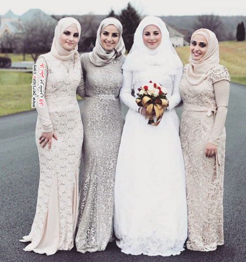 مدل لباس عروس های زیبا و جذاب بر تن عروس های کاملا باحجاب