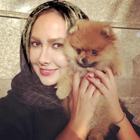 آنا نعمتی به همراه سگش