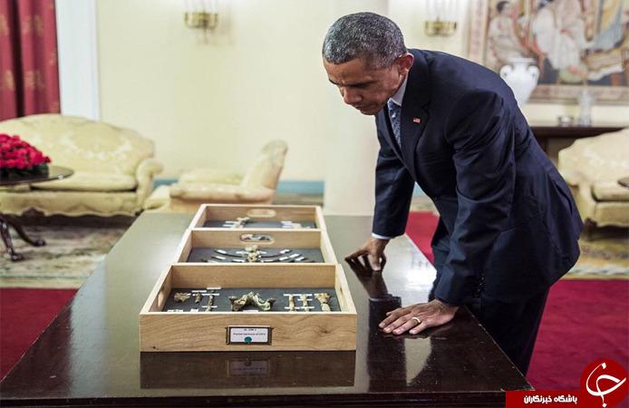 فسیل جد اوباما و حضور اوباما در کنارش