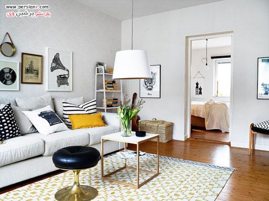 کاربرد هوشمندانه و زیبای رنگ زرد در این منزل