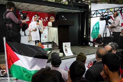عکس های بهاره رهنما و کمند امیر سلیمانی مقابل دفتر سازمان ملل