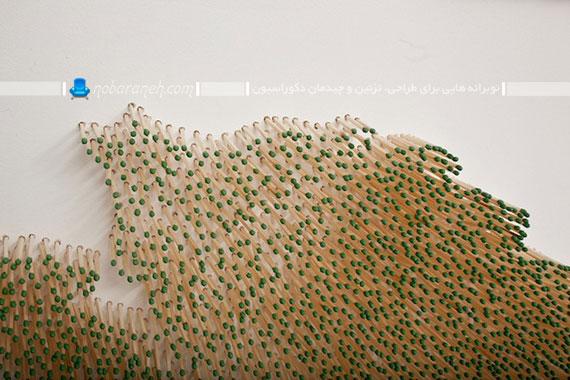 تزئین دیوار خانه با استفاده از جوبهای کبریت