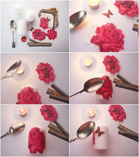 نحوه دکوپاژ کردن زیبا روی شمع ساده