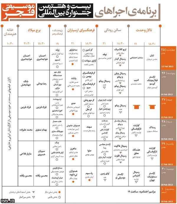 جدول برنامه های جشنواره موسیقی فجر