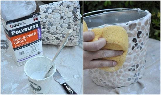 تزیین گلدان با سنگ های کوچک