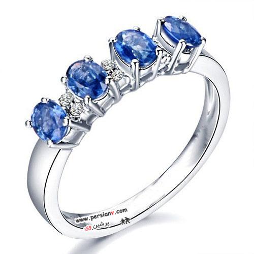 حلقه های نامزدی بسیار زیبای یاقوت آبی