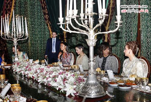 میشل اوباما و دخترانش در مهمانی افطار مراکشی ها