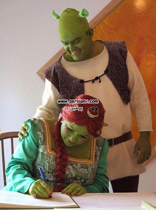 عکس : ازدواج یک زوج به سبک کارتون شرک