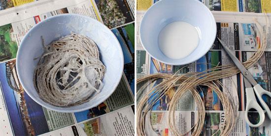 ساخت کاسه با نخ کنفی