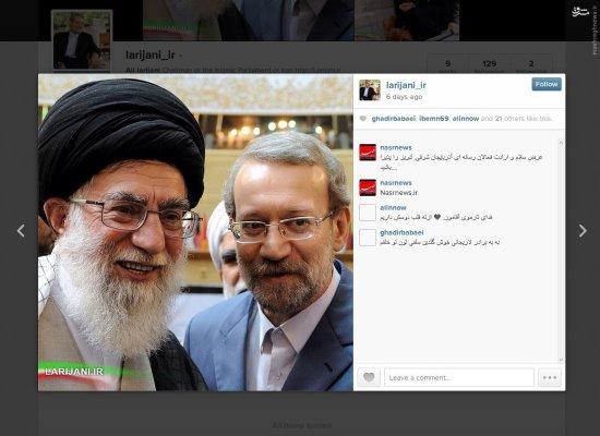سلفی جذاب علی لاریجانی در اینستاگرام