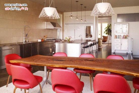 افزودن رنگ قرمز به دکوراسیون اتاق غذاخوری