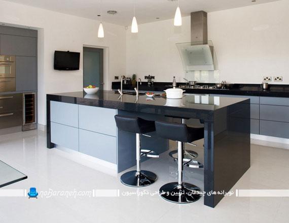 کابینت هایی با رنگها متضاد سفید و سیاه، فضای جالبی در آشپزخانه ایجاد می کنند