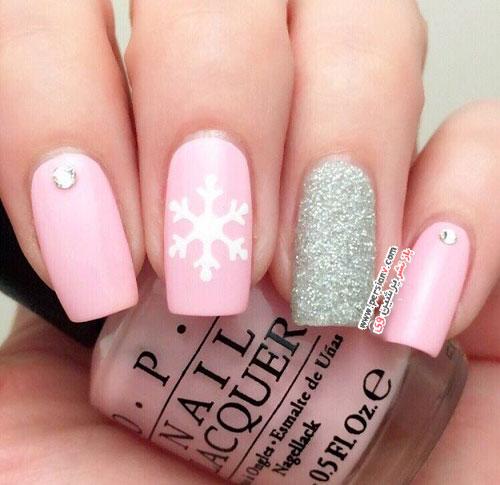 طراحی ناخن های زیبا به شکل دانه های برف برای زمستان