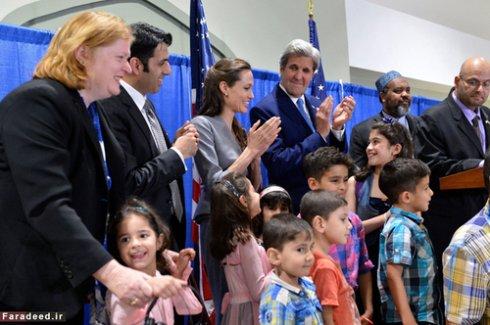 آنجلینا جولی به همراه جان کری در روز جهانی پناهنده