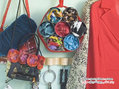 ایده هایی برای سازماندهی شال و روسری در کمد