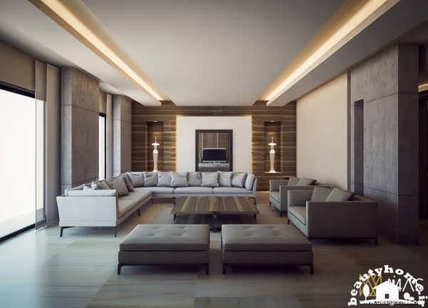 نمای داخلی اتاق پذیرایی خانه های لوکس