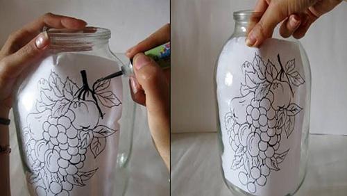 روشی آسان برای نقاشی کردن روی بطری تصاویر