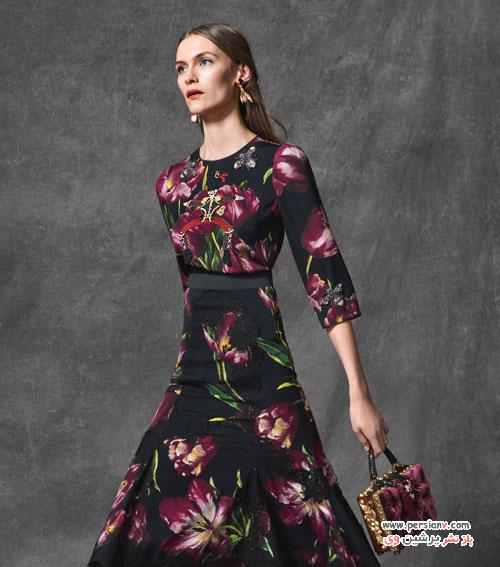 مدل لباس مجلسی و کیف و کفش های دی اند جی با طرح گل لاله