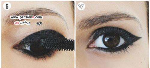 آرایش چشم زیبا با سایه و خط چشم مشکی بالدار