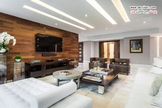 طراحی داخلی اتاق نشیمن با نمای گرم و زیبای دیوارهای چوبی